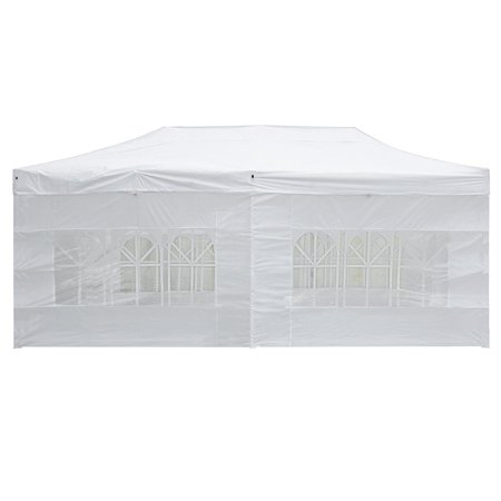 GHP 10'x20' White 420D PVC Coated Oxford Fabric 3-Position Height Pop