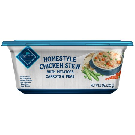 Blue Buffalo Homestyle Chicken Stew Natural Adult Wet Dog Food with Potatoes, Carrots & Peas, 8-oz trays, Case of (Homestyle Chicken)