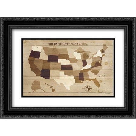 USA Modern Vintage Wood 2x Matted 24x18 Black Ornate Framed Art Print by Mullan, Michael