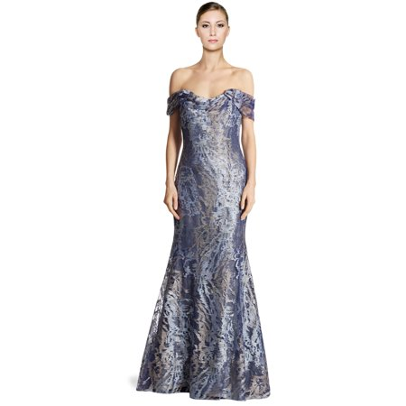 Rene Ruiz Embellished Tulle Off Shoulder Mermaid Evening Gown Dress