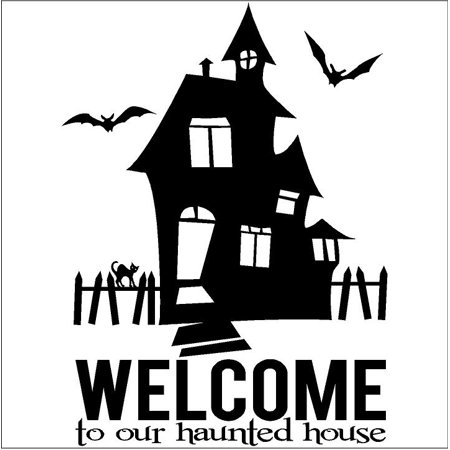 Halloween Welcome To Our Haunted House vinyl lettering decal home decor wall art sticker black cat - Halloween Sales Sayings