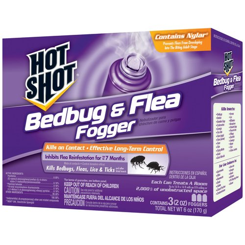 Hot Shot Bedbug & Flea Fogger Insecticide, 3 count, 6 oz