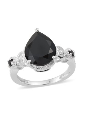 925 Sterling Silver Pear Black Spinel Statement Ring for Women Cttw 3.3 Jewelry Gift