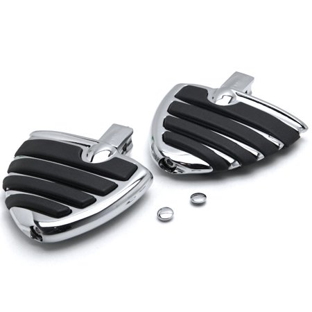 Krator Chrome Motorcycle Wing Foot Pegs Footrests L+R For Kawasaki Vulcan 900 Classic 2006-2013 - Vulcan 900
