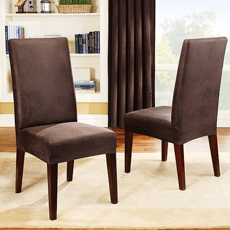 Sure fit stretch leather dining room chair cover brown for Brown leather dining room chairs