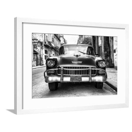 Cuba Fuerte Collection B&W - Old Chevrolet in Havana III Framed Print Wall Art By Philippe Hugonnard