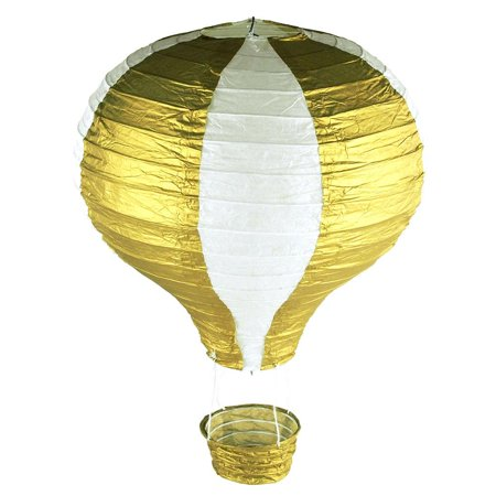 Striped Paper Hot Air Balloon Hanging Decor, 15-Inch, Gold for $<!---->