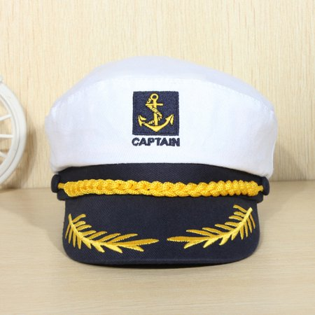 Fashion Yacht Ship Unisex Peaked Skipper Sailors Navy Captain Boating Hat Cap Adult Fancy Dress Accessories