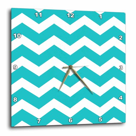 3dRose Turquoise Chevron zig zag pattern - teal aqua blue stylish zigzags, Wall Clock, 10 by 10-inch Team Wall Clock
