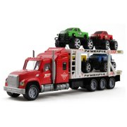 """Vokodo Toy Semi Truck And Hauler 14.5"""" Push And Go With Four Lifted Pickup Cars Kids Friction Powered Big Rig Auto Carrier Transporter Trailer Semi-Truck Play Vehicle Great Gift For Children Boys Girl"""