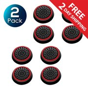 2 Pack Insten 4pcs Black/Red Silicone Thumb Thumbstick Grips Analog Stick Cover Caps for Xbox 360 Xbox One PS4 PS3 PS2 Sony PlayStation 2 3 4 Controller