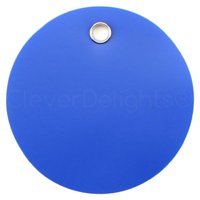 """100 Pack - CleverDelights Blue Plastic Tags - 3"""" Round - Tear-Proof and Waterproof"""
