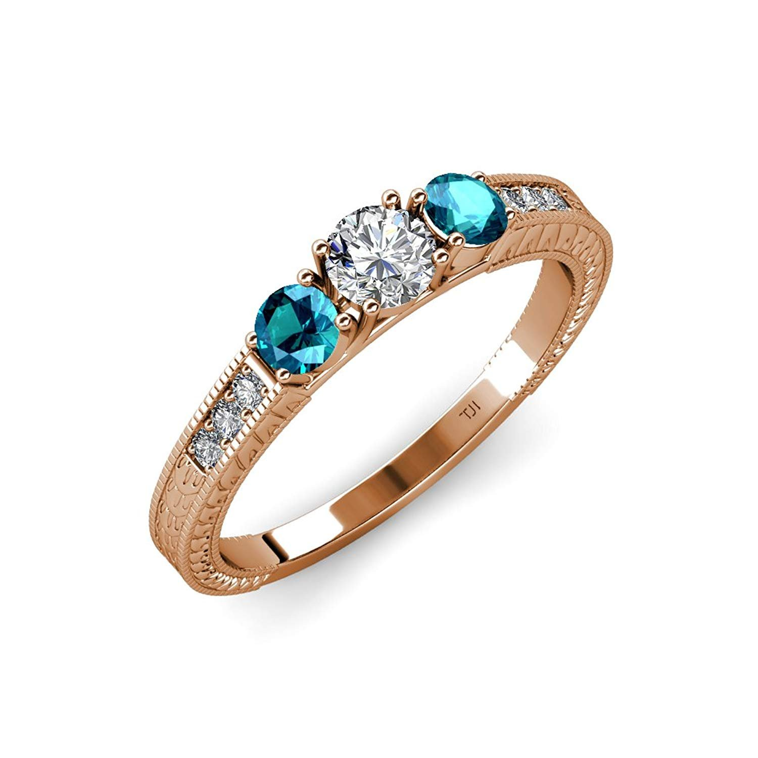 Diamond and London Blue Topaz Milgrain Work 3 Stone Ring with Side Diamond 0.85 ct tw 14K Rose Gold.size 8.5 by TriJewels