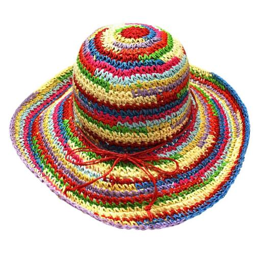 Luxury Divas Multicolor Rainbow Crushable Floppy Sun Hat