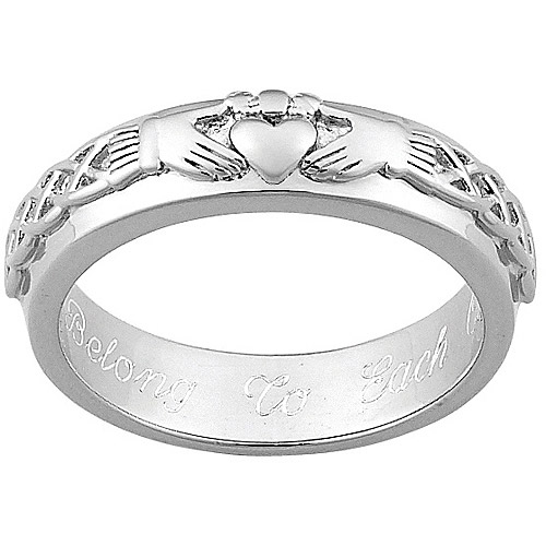 Personalized Sterling Silver Claddagh Wedding Band