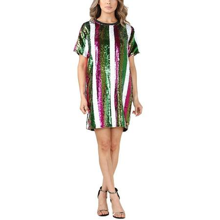 cba16345764 Womens Casual Multi Colored Stripe Fashion Sequin Dress/Tunic Top  ND4629-M-Multi