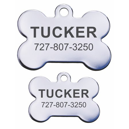 Stainless Steel Personalized Pet ID Tags - Bone