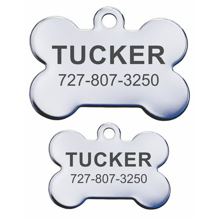 Stainless Steel Personalized Pet ID Tags - Bone](Customizable Dog Tags)