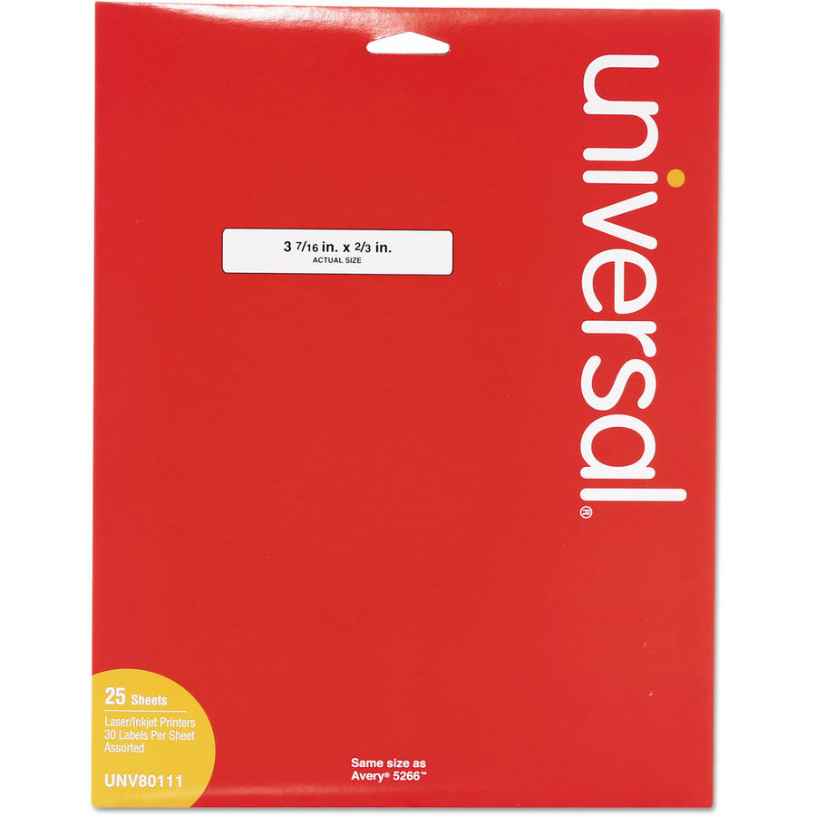 "Universal Laser Printer File Folder Labels, 3-7/16"" x 2/3"", Assorted, 750-Pack"