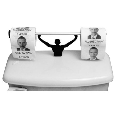 Barack Obama 8 Years Flushed Away Toilet Paper With Strong Man Holder Political Gag Gift Set