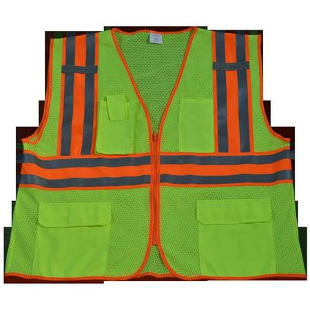petra roc lvm2-cb2-4x-5x safety vest ansi class ii lime mesh contrast binding, 4x & 5x petra roc lvm2-cb2-4x/5x ansi class 2 safety vest with orange contrast binding, 4x-large/5x-large, lime mesh