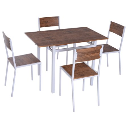 HOMCOM 5 Piece Drop Leaf Counter Height Dining Table and Chairs Set - Walnut/White ()
