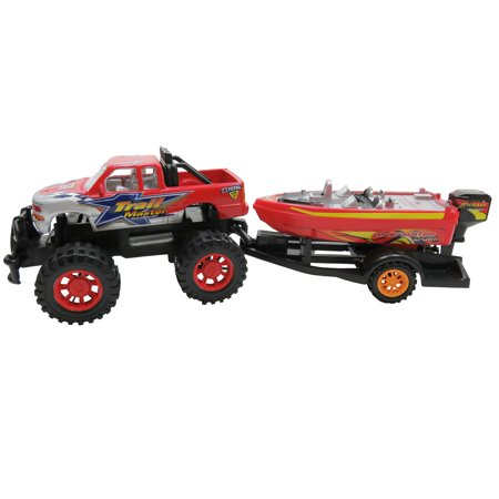 - Path Blazer Friction Power Monster Truck Speed Boat Hauler With Trailer
