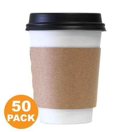 12 OZ Hot Beverage Disposable White Paper Coffee Cup with Black Dome Lid and Kraft Sleeve Combo, Medium Grande [50 Pack] - Blacklight Cups