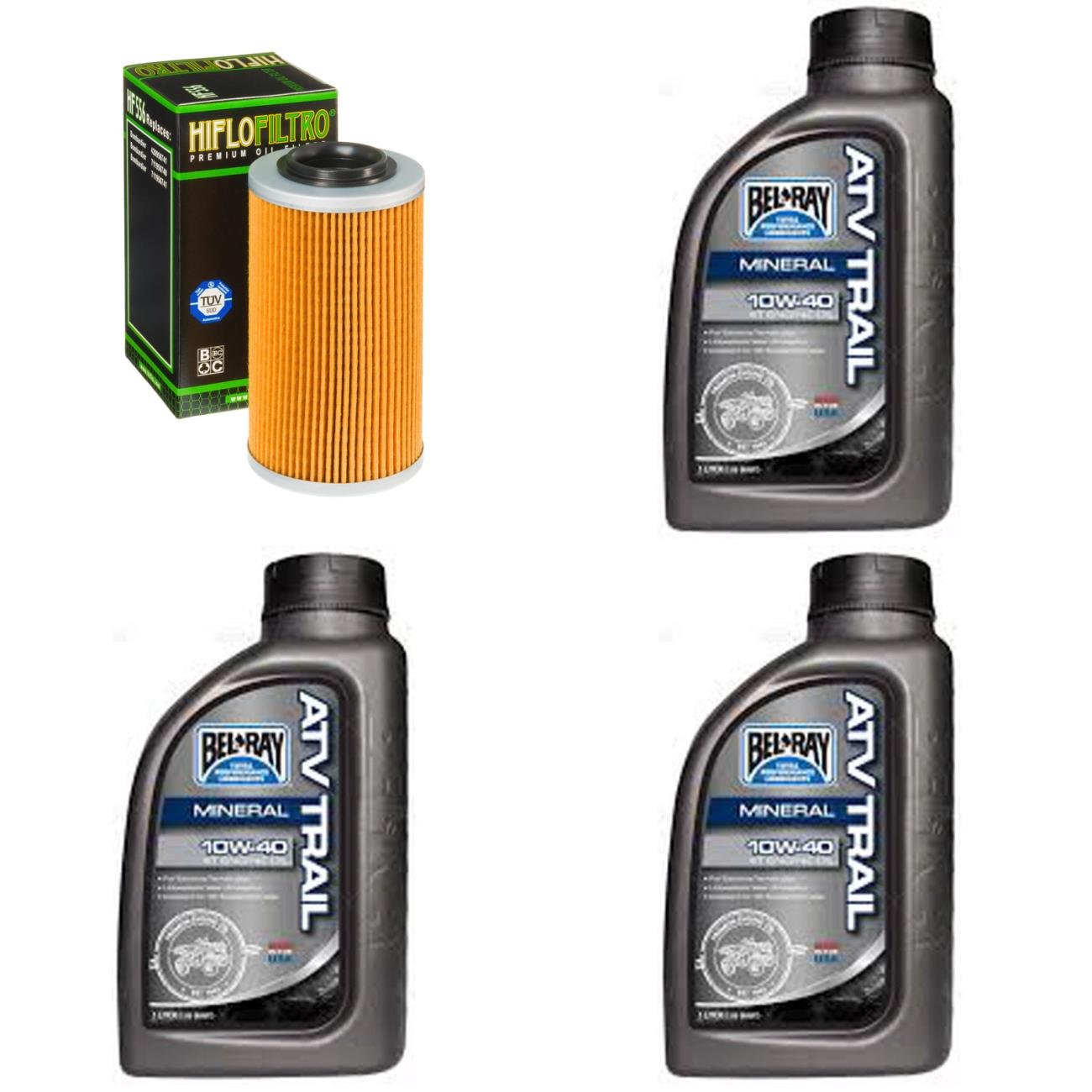 Complete Mineral Engine Oil 10W-40 Change Kit for ATV BOMBARDIER 650 Quest XT 02-03
