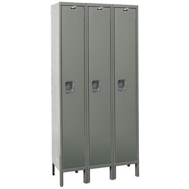 Hallowell UY3848-1A-PT Hallowell Maintenance-Free Quiet - MFQ - Locker, 54 in. W x 24 in. D x 78 in. H, 729 Parchment, Single Tier, 3-Wide, Assembled