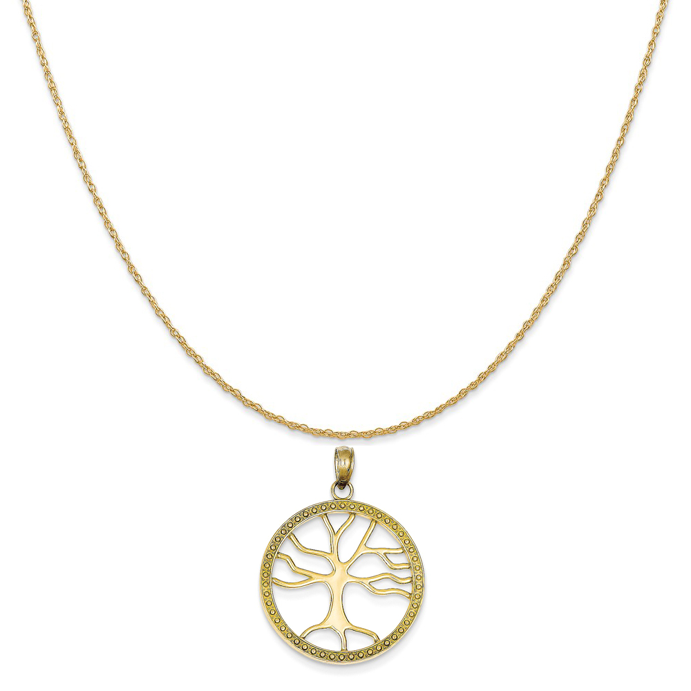 """14k Yellow Gold Tree Of Life in Round Frame Pendant on 14K Yellow Gold Rope Chain Necklace, 16"""""""