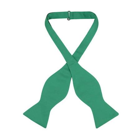 Vesuvio Napoli SELF TIE Bow Tie Solid EMERALD GREEN Color Men's BowTie (Green Bowtie)