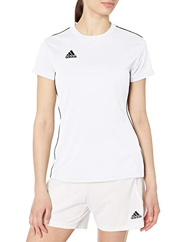 Adidas - adidas Women's Core 18 AEROREADY Primegreen Regular Fit Soccer Short Sleeve Jersey White/Black, Medium - Walmart.com