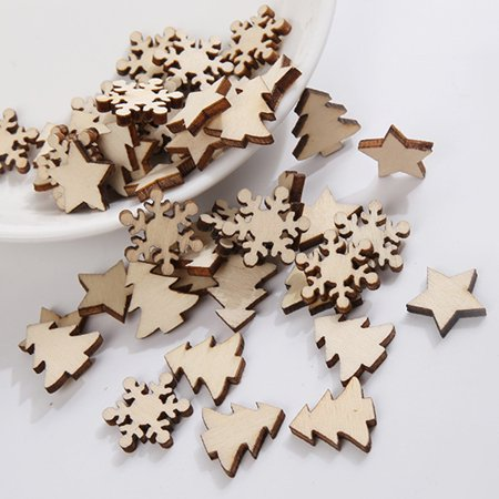 Visland 50Pcs Christmas DIY Wooden Star Tree Snowflake Crafts Scrapbooking Wedding Decor - image 6 de 6