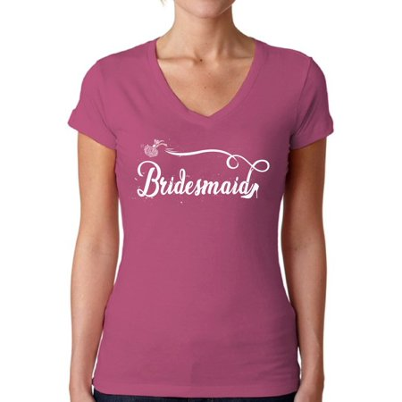 Awkward Styles Bridesmaid V-Neck Shirt Bridesmaid Shirt for Women Cute Wedding Gifts for Her Bridal Party Outfit Bachelorette Party Shirts for Bridesmaids Cute Bride Squad T Shirt Bride's Entourage Ladies Bridal Suits