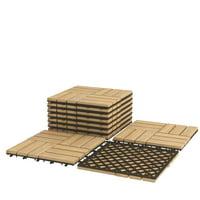 10-Piece Acacia Wood Deck Tiles Patio Interlocking Floor Tiles