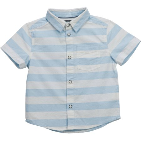 Toddler Boys' Large Stripe Snap Detail Short Sleeve Woven Shirt