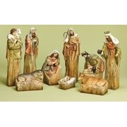9-Piece Inspirational Religious Driftwood Nativity Scene Christmas Decoration