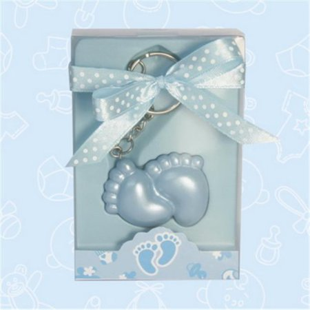 Baby Shower Blue Baby Feet Keychain