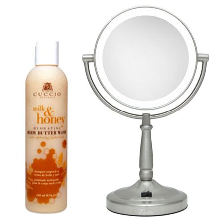 Zadro LEDV45 Battery Powered LED Lighted Vanity Mirror and Cuccio Milk & Honey Body Butter -