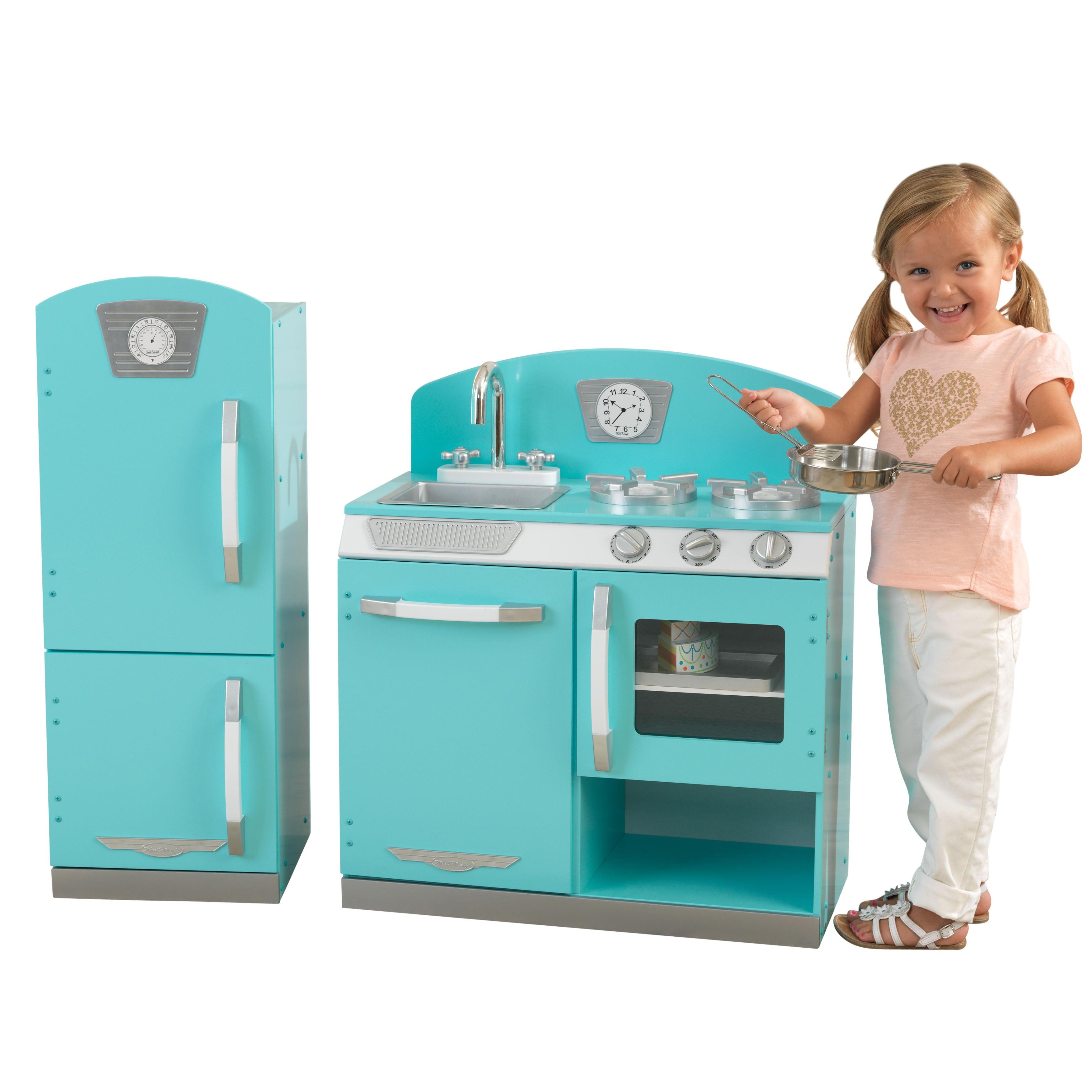 Kidkraft Blue Retro Kitchen And Refrigerator Walmart Com