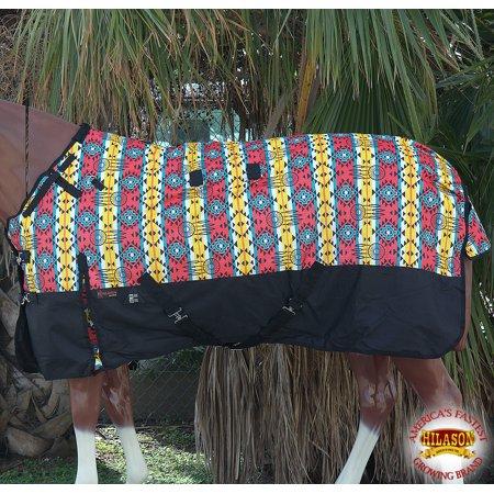 "66"" Hilason 1200D Ripstop Turnout Winter Horse Sheet Aztec Black"