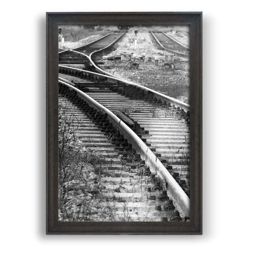 """wall26 - Framed Wall Art Prints - Railways with Wild Grass - Modern Home Decoration. Ready to Hang - Dark Coffee Brown Frame -24""""x36"""""""