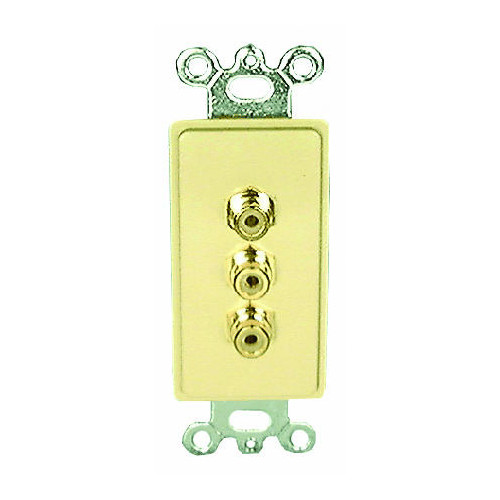Comprehensive Single Gang Wall Plate (RCA(3) Yellow, Red, White Passthru)