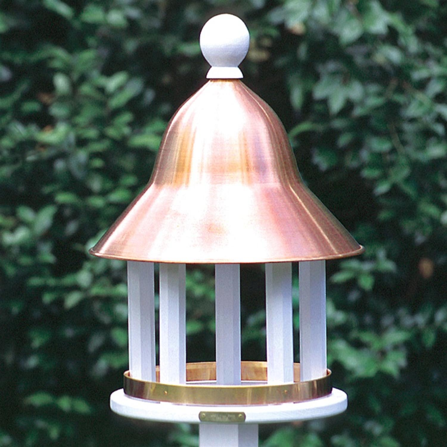 "17"" Fully Functional Enchanted Polished Copper Bell Outdoor Garden Bird Feeder"