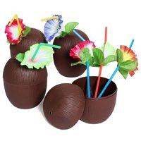 12-Pack 16 Ounce Plastic Coconut Cups With Straws, Hawaiian Tropical Luau Party Supplies