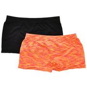 Womens Black & Orange Nylon Seamless Boxer Shorts (2 Pack)