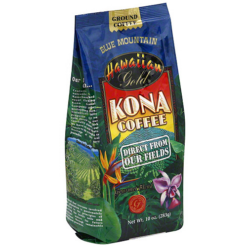 Hawaiian Gold Kona Blue Mountain Ground Coffee, 10 oz (Pack of 6)