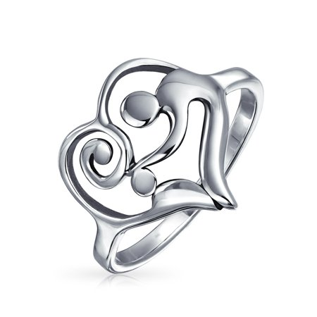 Mother's Day Vaeltines Swirling Heart Mother Loving Child Family 925 Sterling Silver Polished Finish Ring For Women - Mothers Day Kids Crafts