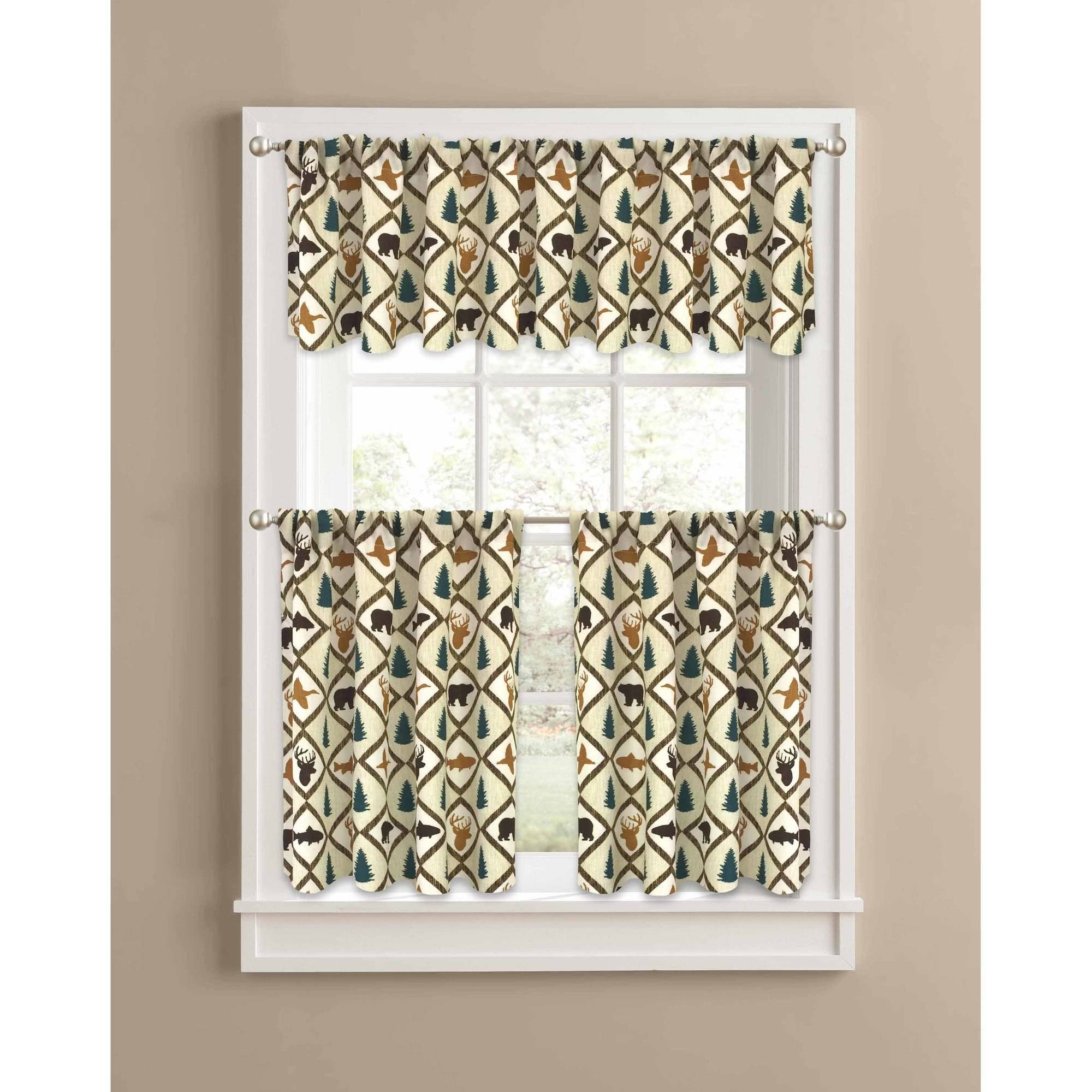 Better Homes and Gardens Brown Cabin Quilt Valance Kitchen Curtains, Set of 2 or Valance by Colordrift LLC